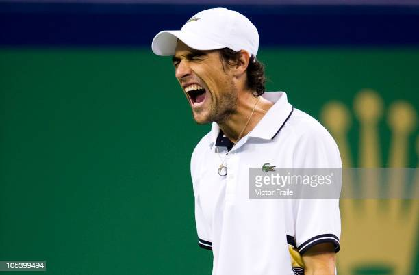 Jeremy Chardy of France reacts during his match against Andy Murray of Great Britain during day four of the 2010 Shanghai Rolex Masters at the...