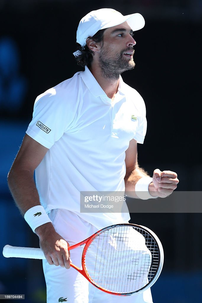 Jeremy Chardy of France reacts in his third round match against Juan Martin Del Potro of Argentina during day six of the 2013 Australian Open at Melbourne Park on January 19, 2013 in Melbourne, Australia.