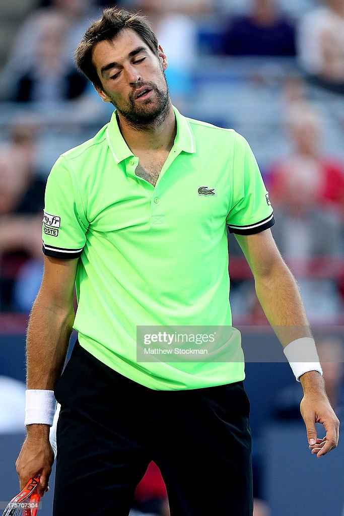 Jeremy Chardy of France reacts to a lost point while playing Milos Raonic of Canada during the Rogers Cup at Uniprix Stadium on August 6, 2013 in Montreal, Quebec, Canada.