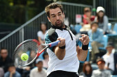 Jeremy Chardy of France returns a shot during the men's singles match against Sam Groth of Australia on day two of Rakuten Open 2015 at Ariake...