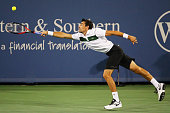 Jeremy Chardy of France returns a shot to Rafael Nadal of Spain during Day 5 of the Western Southern Open at the Lidler Family Tennis Center on...