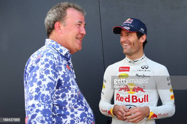 Jeremy Clarkson and Mark Webber of Australia and Infiniti Red Bull Racing share a joke during the Top Gear Festival at Sydney Motorsport Park on...
