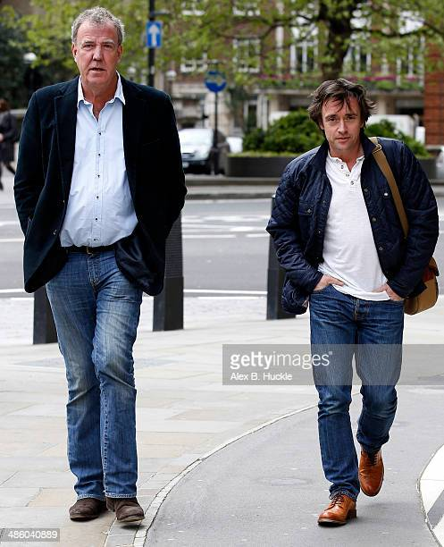 Jeremy Clarkson and Richard Hammond sighted arriving at the BBC Studios Portland Place on April 22 2014 in London England