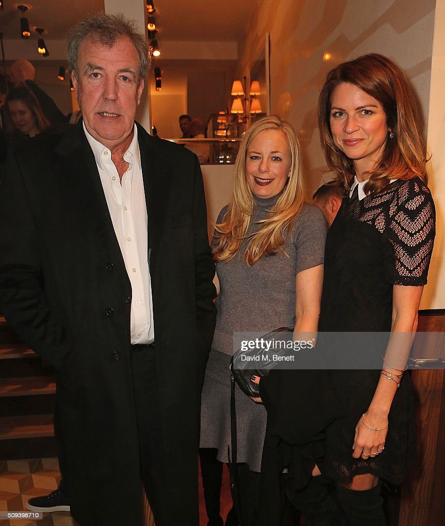 Jeremy Clarkson, <a gi-track='captionPersonalityLinkClicked' href=/galleries/search?phrase=Astrid+Harbord&family=editorial&specificpeople=5385900 ng-click='$event.stopPropagation()'>Astrid Harbord</a> and guest attend the launch of Italian restaurant and menswear boutique Chucs on Westbourne Grove on February 10, 2016 in London, England.