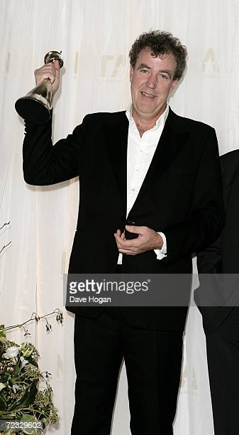 Jeremy Clarkson poses in the awards room with the award for Most Popular Factual Programme for Top Gear at the National Television Awards 2006 at the...