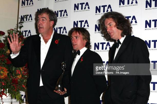 Jeremy Clarkson Richard Hammond and James May with their award for Most Popular Factual Programme for Top Gear back stage during the National...