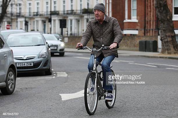 Jeremy Clarkson seen returning home on a bike on March 23 2015 in London England