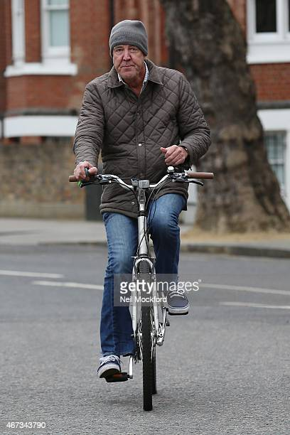 Jeremy Clarkson seen returning home on his bike on March 23 2015 in London England