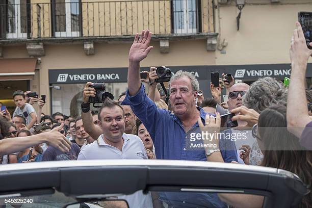 Jeremy Clarkson waves to the crowd at Piazza dei Signori during the filming for their new Amazon TV Programme 'The Grand Tour ' on July 7 2016 in...
