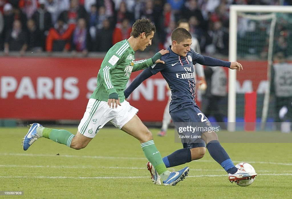 Jeremy Clement of AS Saint-Etiennne and Marco Verratti of Paris Saint-Germain FC during the French Ligue 1 between Paris Saint-Germain FC and AS Saint-Etienne, at Parc des Princes on November 03, 2012 in Paris, France.