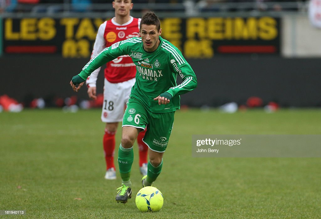Jeremy Clement of ASSE in action during the french Ligue 1 match between Stade de Reims and AS Saint-Etienne at the Stade Auguste Delaune on February 17, 2013 in Reims, France.
