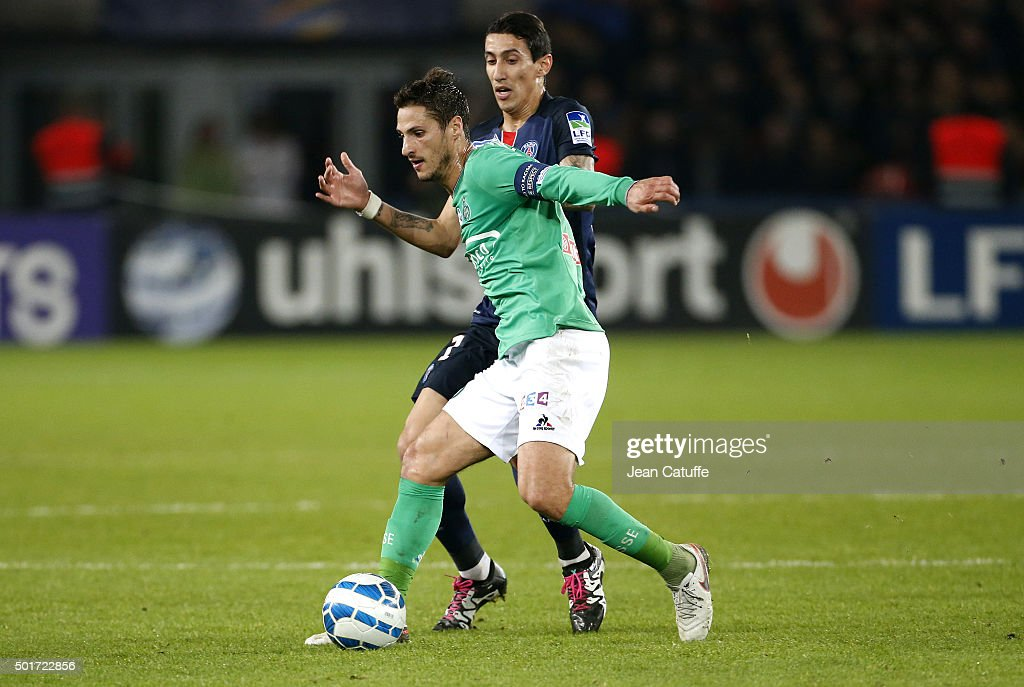 Jeremy Clement of Saint-Etienne and Angel Di Maria of PSG in action during the French League Cup (Coupe de la Ligue) match between Paris Saint-Germain (PSG) and AS Saint-Etienne (ASSE) at Parc des Princes stadium on December 16, 2015 in Paris, France.