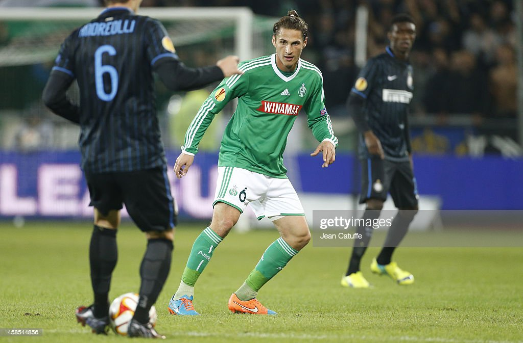 <a gi-track='captionPersonalityLinkClicked' href=/galleries/search?phrase=Jeremy+Clement&family=editorial&specificpeople=648908 ng-click='$event.stopPropagation()'>Jeremy Clement</a> of Saint-Etienne in action during the UEFA Europa League Group F match between AS Saint-Etienne and Inter Milan on November 6, 2014 in Saint-Etienne, France.