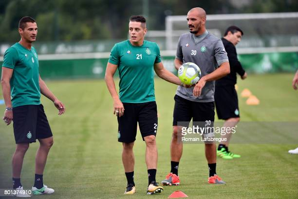 Jeremy Clement Romain Hamouma and Jessy Moulin of Saint Etienne during the training session of AS SaintEtienne on June 26 2017 in SaintEtienne France