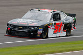 Jeremy Clements driver of the RepairableVehiclescom/SDD Chevrolet practices for the NASCAR XFINITY Series Lilly Diabetes 250 at Indianapolis Motor...