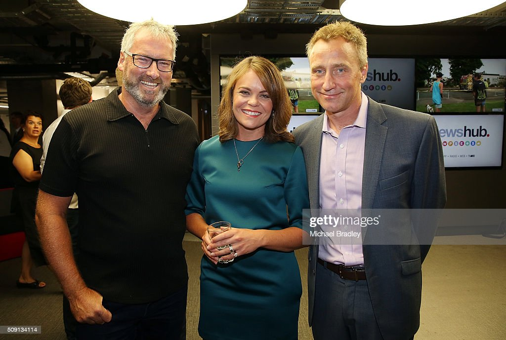 Jeremy Corbett, Heather du Plessis-Allan and Mark Weldon pose at the launch of Newshub, MediaWorks new cross-platform news service on February 9, 2016 in Auckland, New Zealand.