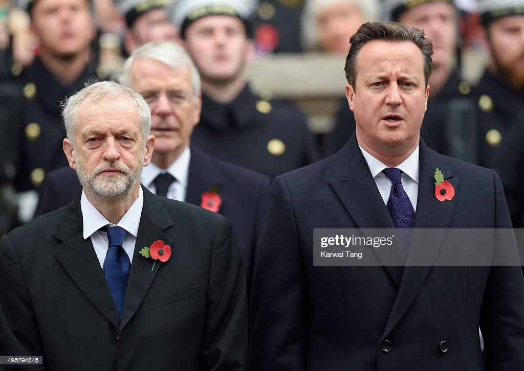 Jeremy Corbyn and David Cameron attend the annual Remembrance Sunday Service at the Cenotaph, Whitehall on November 8, 2015 in London, England.