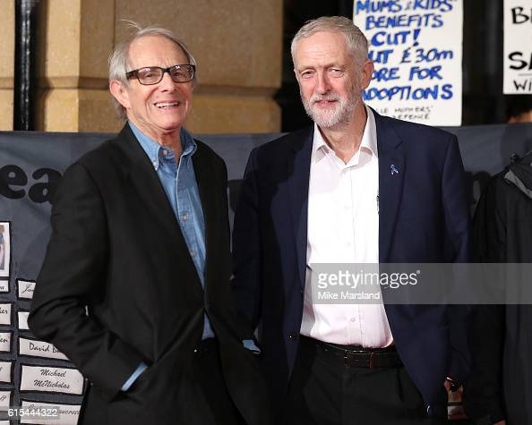 Jeremy Corbyn and Ken Loach attend the 'I Daniel Blake' people's premiere at Vue West End on October 18 2016 in London England