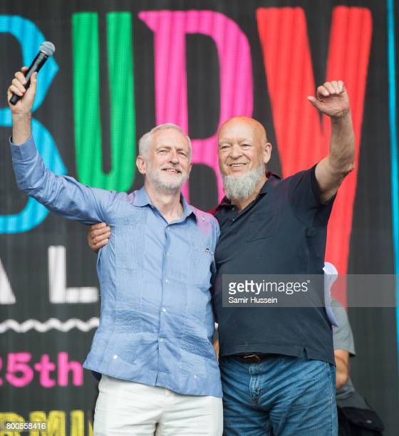 Jeremy Corbyn and Michael Eavis attend on day 3 of the Glastonbury Festival 2017 at Worthy Farm Pilton on June 24 2017 in Glastonbury England