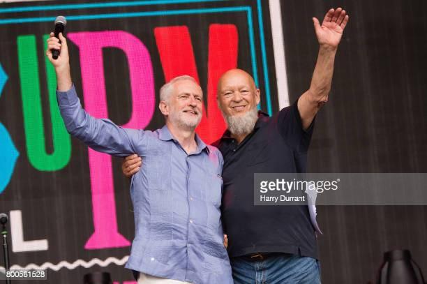 Jeremy Corbyn and Michael Eavis speak on stage on day 3 of the Glastonbury Festival 2017 at Worthy Farm Pilton on June 24 2017 in Glastonbury England