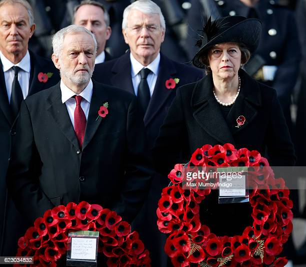 Jeremy Corbyn and Prime Minister Theresa May attend the annual Remembrance Sunday Service at the Cenotaph on Whitehall on November 13 2016 in London...