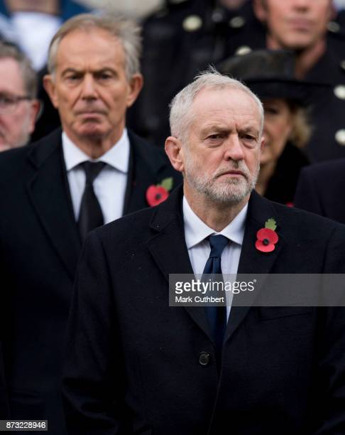 Jeremy Corbyn and Tony Blair during the annual Remembrance Sunday memorial on November 12 2017 in London England The Prince of Wales senior...