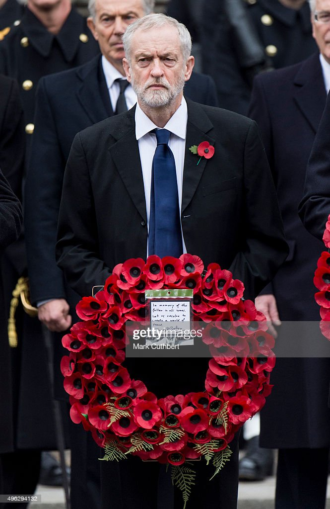 Jeremy Corbyn attends the annual Remembrance Sunday Service at the Cenotaph on Whitehall at The Cenotaph on November 8, 2015 in London, England. The National Service of Remembrance takes place at the Cenotaph in Whitehall, London. The Queen, senior politicians, including the British Prime Minister and former British Prime Ministers, alongside representatives from the armed forces pay tribute to those who have suffered or died at war.