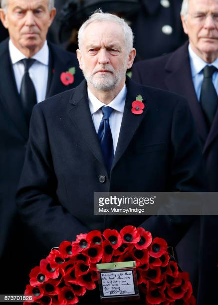 Jeremy Corbyn attends the annual Remembrance Sunday Service at The Cenotaph on November 12 2017 in London England This year marks the first time that...