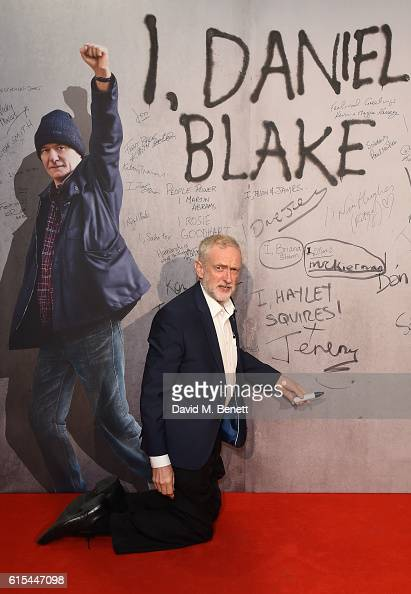 Jeremy Corbyn attends the 'I Daniel Blake' People's Premiere at Vue West End on October 18 2016 in London England