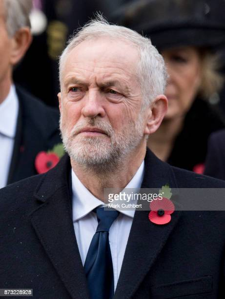 Jeremy Corbyn during the annual Remembrance Sunday memorial on November 12 2017 in London England The Prince of Wales senior politicians including...