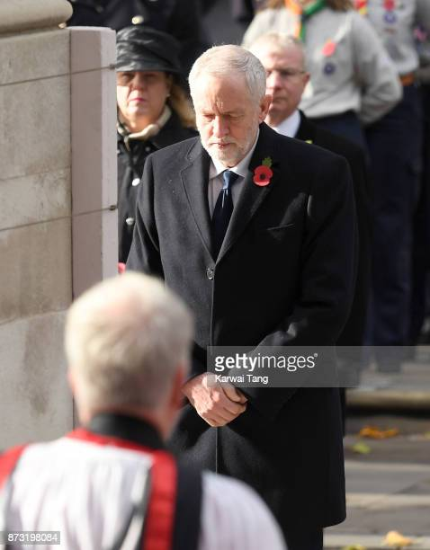 Jeremy Corbyn during the annual Remembrance Sunday Service at The Cenotaph on November 12 2017 in London England