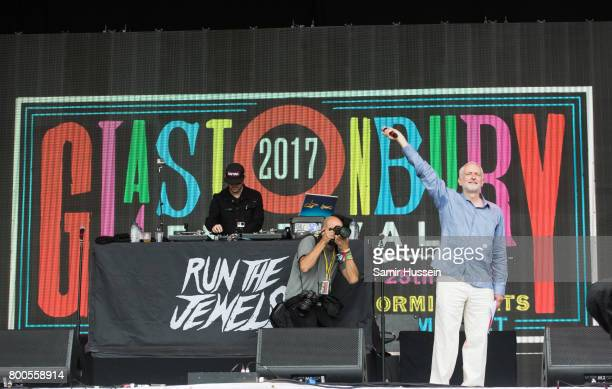 Jeremy Corbyn gives a speech on the Pyramid Stage on day 3 of the Glastonbury Festival 2017 at Worthy Farm Pilton on June 24 2017 in Glastonbury...