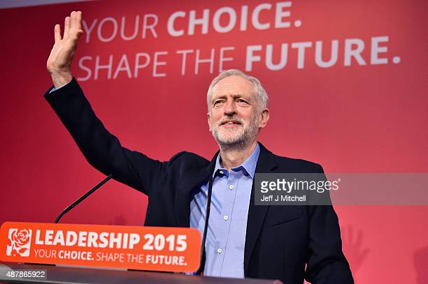 Jeremy Corbyn is announced as the new leader of the Labour Party at the Queen Elizabeth II conference centre on September 12 2015 in London England...