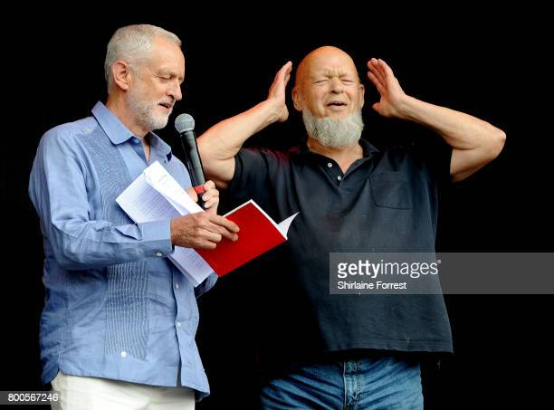 Jeremy Corbyn is introduced by Michael Eavis on the Pyramid stage on day 3 of the Glastonbury Festival 2017 at Worthy Farm Pilton on June 24 2017 in...