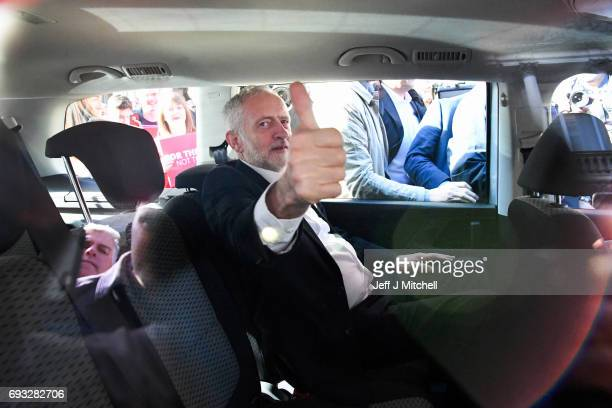 Jeremy Corbyn Leader of the Labour Party gives the thumbs up during a campaign rally on Buchanan Street on June 7 2017 in Glasgow Scotland The Labour...