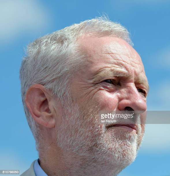 Jeremy Corbyn leader of the Labour party listens to the speeches during the 133rd Durham Miners Gala on July 8 2017 in Durham England Over two...