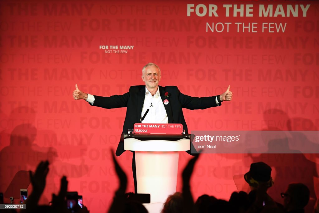 Jeremy Corbyn, Leader of the Labour Party speaks during a campaign rally at Union Chapel Islington on June 7, 2017 in London, United Kingdom. The Labour leader is holding six rallies across Scotland, England and Wales today on the final day before polling day in the General Election.