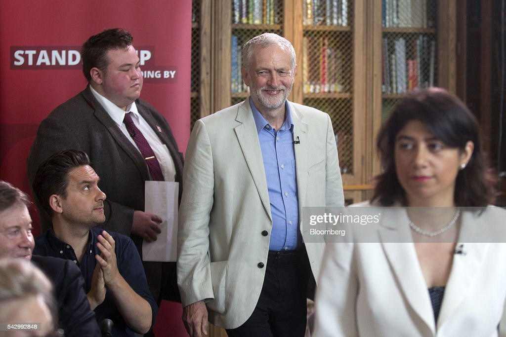 Jeremy Corbyn, leader of the U.K. opposition Labour Party, arrives to speak at a news conference following the U.K. European Union (EU) referendum results, in London, U.K., on Saturday, June 25, 2016. Corbyn said he would run in a second U.K. Labour leadership election. Photographer: Simon Dawson/Bloomberg via Getty Images