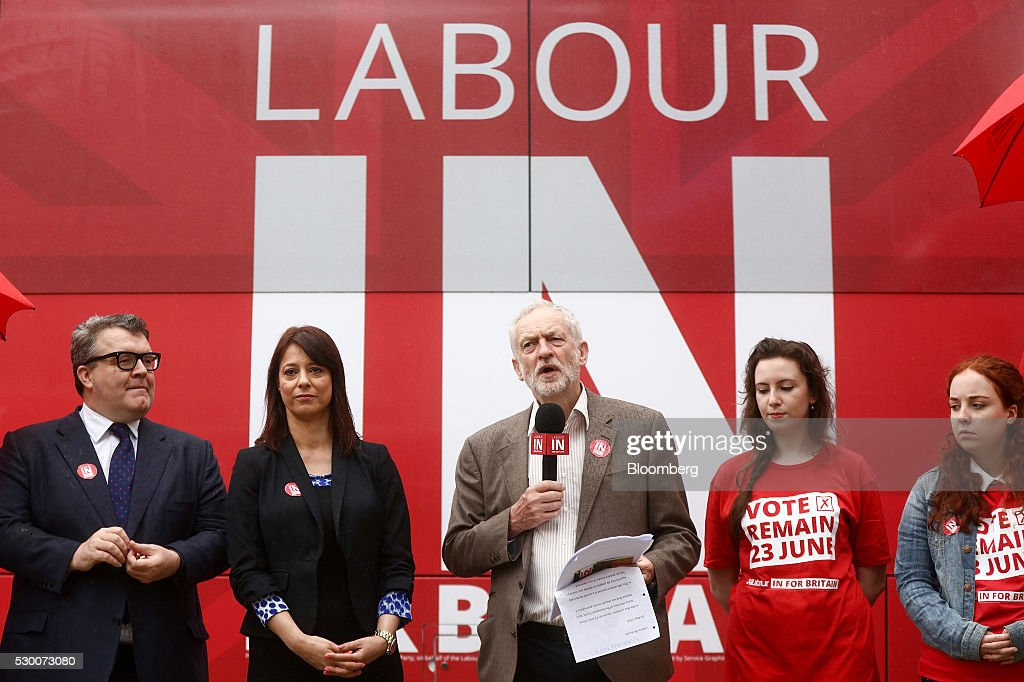 Opposition Labour Party Leader Jeremy Corbyn Unveils Labour In For Britain Campaign Bus
