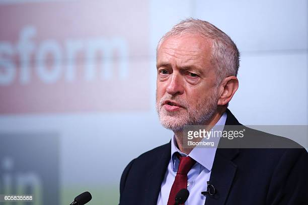 Jeremy Corbyn leader of the UK opposition Labour Party delivers a keynote speech on postBrexit Britain at the Bloomberg LP office in London UK on...