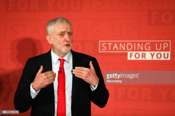 Jeremy Corbyn leader of the UK opposition Labour Party gestures while speaking at an event to launch Labour's local elections campaign in...
