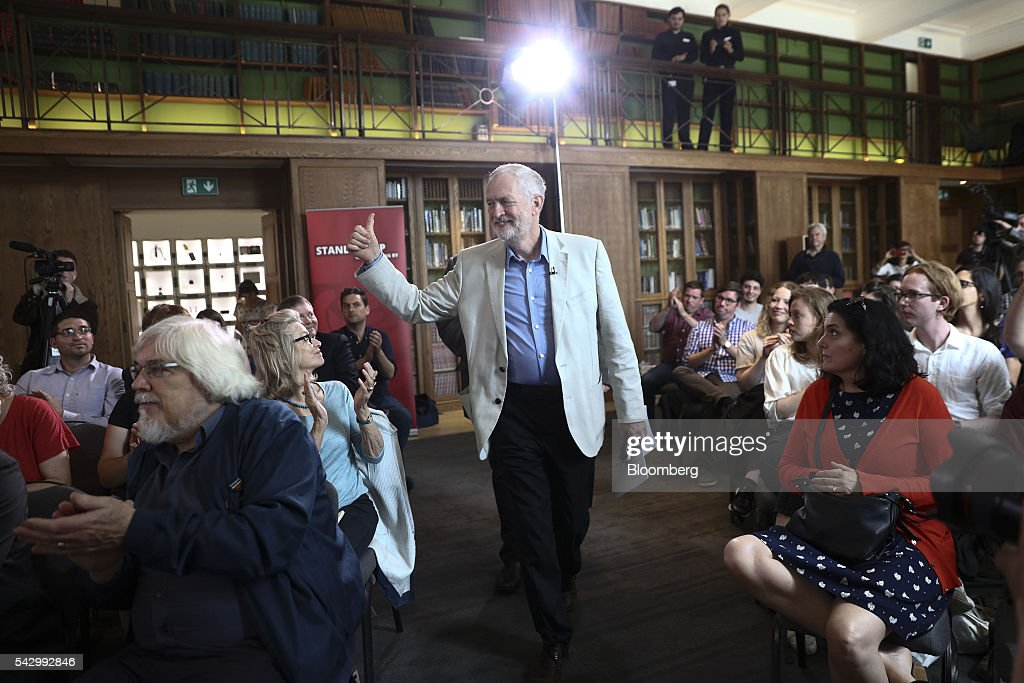 Jeremy Corbyn, leader of the U.K. opposition Labour Party, gives a thumbs up as he arrives to speak at a news conference following the U.K. European Union (EU) referendum results, in London, U.K., on Saturday, June 25, 2016. Corbyn said he would run in a second U.K. Labour leadership election. Photographer: Simon Dawson/Bloomberg via Getty Images