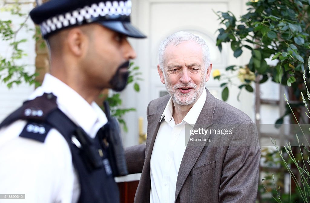 <a gi-track='captionPersonalityLinkClicked' href=/galleries/search?phrase=Jeremy+Corbyn&family=editorial&specificpeople=2596361 ng-click='$event.stopPropagation()'>Jeremy Corbyn</a>, leader of the U.K. opposition Labour Party, leaves his house in London, U.K, on Tuesday, June 28, 2016. Corbyn will face a no-confidence motion today as the aftershocks of last week's referendum vote to quit the European Union continue to wreak havoc across the country's political landscape. Photographer: Chris Ratcliffe/Bloomberg via Getty Images