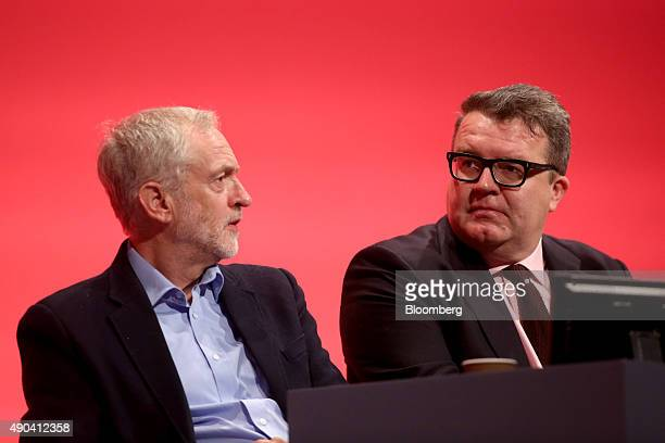 Jeremy Corbyn leader of the UK opposition Labour Party left and Tom Watson deputy leader of the UK opposition Labour Party listen to speakers on the...