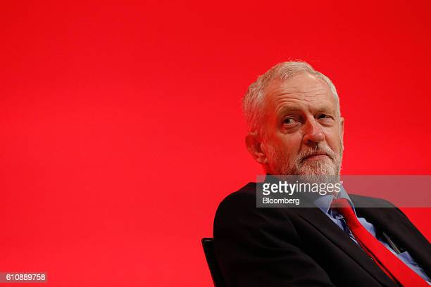 Jeremy Corbyn leader of the UK opposition Labour Party listens to speeches at the party's annual conference in Liverpool UK on Wednesday Sept 28 2016...