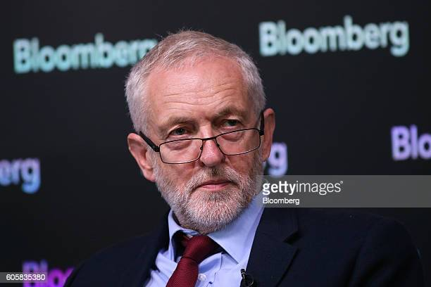 Jeremy Corbyn leader of the UK opposition Labour Party looks on ahead of his keynote speech on postBrexit Britain at the Bloomberg LP office in...