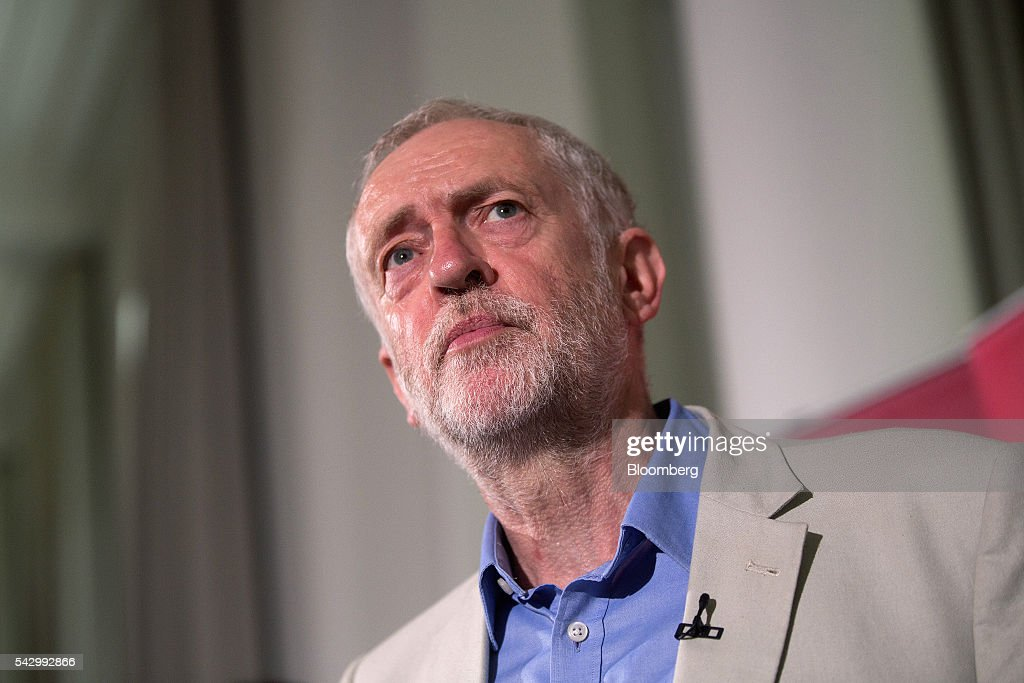 Jeremy Corbyn, leader of the U.K. opposition Labour Party, pauses while speaking at a news conference following the U.K. European Union (EU) referendum results, in London, U.K., on Saturday, June 25, 2016. Corbyn said he would run in a second U.K. Labour leadership election. Photographer: Simon Dawson/Bloomberg via Getty Images