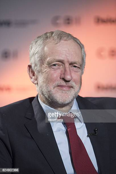 Jeremy Corbyn leader of the UK opposition Labour Party poses for a photograph following a Bloomberg Television interview at the Confederation of...