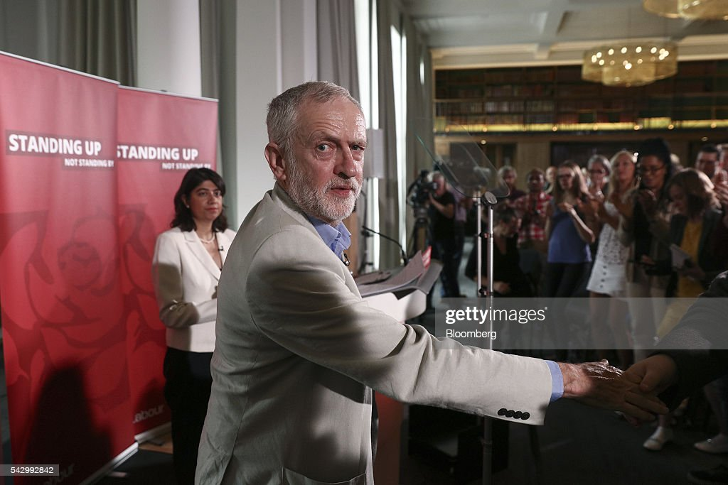 Jeremy Corbyn, leader of the U.K. opposition Labour Party, reacts after speaking at a news conference following the U.K. European Union (EU) referendum results, in London, U.K., on Saturday, June 25, 2016. Corbyn said he would run in a second U.K. Labour leadership election. Photographer: Simon Dawson/Bloomberg via Getty Images