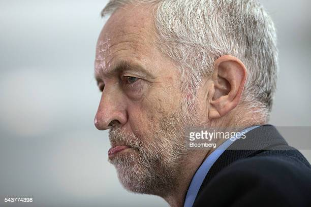 Jeremy Corbyn leader of the UK opposition Labour Party reacts as he speaks during a news conference in London UK on Thursday June 30 2016 The...
